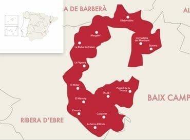 map of montsant - montsant circle - wine regions of spain - catalunyan sub regions - spanish wine appelations