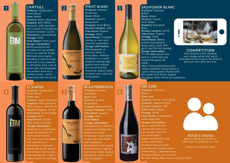 Wine Subscription Tasting Notes May 2020